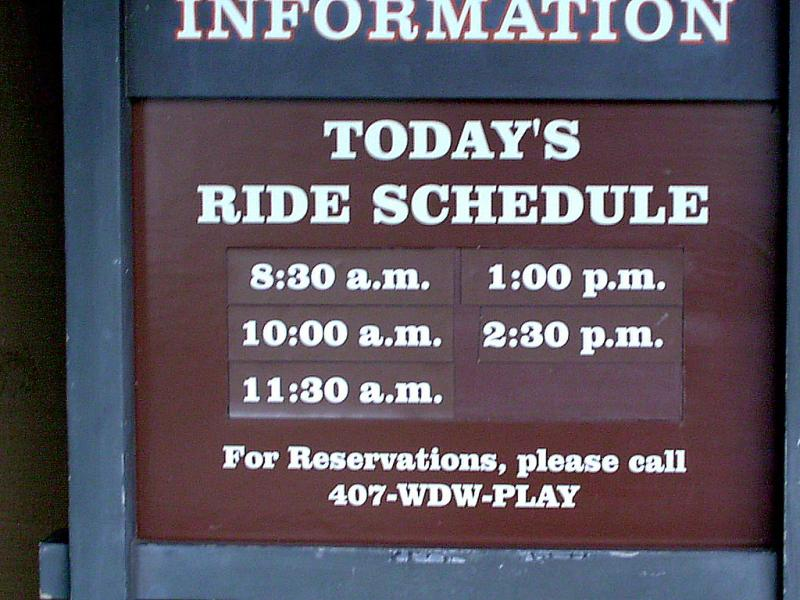 Horseback riding schedule